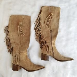 Bronx Pointed Tan Suede Leather Fringe Tall Boots